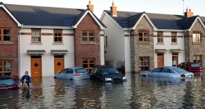 Waterlogged houses: most Shannon-side counties have fostered a settlement strategy dominated by random single houses. We need not be surprised so many end up waterlogged in wet ground. Photograph: Brenda Fitzsimon
