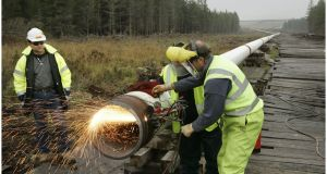 Works are carried out on a section of  gas line at Aughoose, Co Mayo. File photograph: Dara Mac Dónaill/The Irish Times