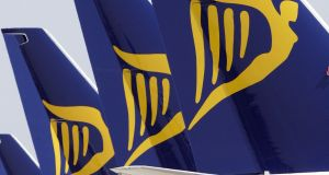Ryanair fell 2 per cent but the stock has gained 53 per cent over the year. Photograph: Alan Betson/The Irish Times