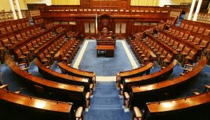 There are 166 seats in the current Dáil requiring 84 TDs to form a majority Government. There will be 158 seats in the 32nd Dáil elected in 2016, requiring 80 for an outright majority.  Photograph: Alan Betson, Irish Times