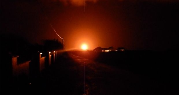 Gas flaring during New Year's Eve at Shell E&P Ireland's Corrib gas plant. Photograph: Tony Bourke