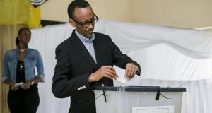 Rwanda's president Paul Kagame voting in Kigali on December 18th in a referendum to amend the constitution enabling him to rule until 2034. Photograph: Cyril Ndegeya/AFP/Getty Images