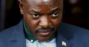 Burundi's president Pierre Nkurunziza:  Move to gain additional term has prompted the UN warn the country is on verge of civil war. Photograph: EPA
