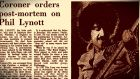 30 years ago today: A report in The Irish Times on Monday, January 6th, 1986, marks the death of Irish rock star Phil Lynott. Photograph: The Irish Times