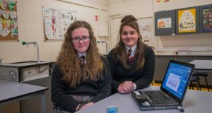 Roisin Tuohy and Gabriele Kolesnikovaite, from Lucan Community College, are investigating the impact of screen time with teenagers. Photograph: Brenda Fitzsimons