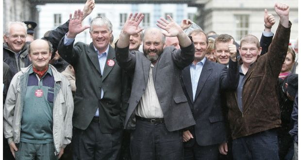 The Rossport five (LtoR) Michael Ó Seighin, Brendan Philbin, Willie Corduff, Vincent McGrath and Philip McGrath leaving the four courts yesterday after being released from prison in 2005.