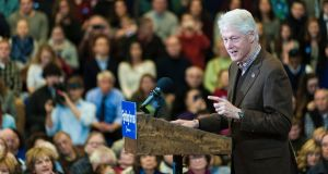 Former president Bill Clinton speaks at a rally where he was campaigning on behalf of Hillary Clinton, in Nashua, New Hampshire. Photograph: Ian Thomas Jansen-Lonnquist/The New York Times