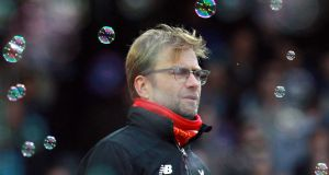 Liverpool manager Jurgen Klopp during the defeat to West Ham at Upton Park. Photograph: EPA