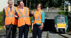 Minister for Transport Paschal Donohoe, with David Franks, chief executive of Iarnród Éireann, and Anne Graham, chief executive of the NTA, at  the Phoenix Park Tunnel in Dublin. File  photograph: Eric Luke/The Irish Times