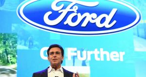 "Ford CEO Mark Fields at CES 2016 Consumer Electronics Show:  Ford unveiled an alliance with US online giant Amazon aimed at allowing people to connect their cars into ""smart home"" networks."