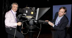 TV3's Pat Kiely (right) is pictured with Ryanair's Michael O'Leary at the filming of an ad for the airline in its Ballymount studios in 2014. Photograph: Brian McEvoy