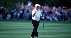 Christy O'Connor Jnr has died at the age of 67. Here, O'Connor Jnr celebrates after his superb approach shot at the crucial 18th hole during the 1989 Ryder Cup. Photograph: Bob Thomas/Getty Images