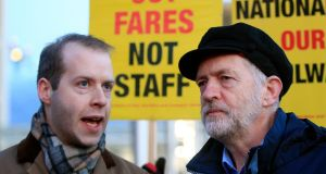 "British Labour Party leader Jeremy Corbyn (right) with shadow rail minister Jonathan Reynolds at King's Cross, London, on Monday. Mr  Reynolds said he was resigning because he could not ""in good conscience endorse the world view of the Stop the War Coalition"". Photograph:  Jonathan Brady/PA Wire"
