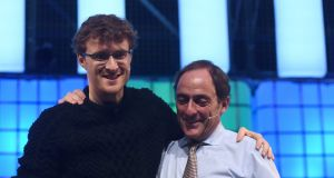 Paddy Cosgrave, co-founder of the Web Summit, with Portuguese deputy prime minister Paulo Portas, during the Web Summit in Dublin in November. Photograph: Stephen McCarthy/Sportsfile