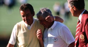 European captain Tony Jacklin congratulates Christy O'Connor Jnr after his emotional win at the 18th in the 1989 Ryder Cup. Photograph: Photo by Bob Thomas/Getty Images