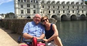 Kevin Dawson with his wife, Brianóg, on holiday in the Loire Valley, France.