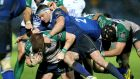 Leinster's Fergus McFadden tackles Sean O'Brien of Connacht during their Pro12 encounter. Photo: Ryan Byrne/Inpho
