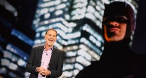 Netflix CEO Reed Hastings giving a keynote address at the CES 2016 Consumer Electronics Show in Las Vegas, Nevada. Photograph: AFP Photo