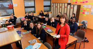 Joanna Keane with her Presentation Tralee English class. Photograph:  Domnick Walsh/Eye Focus