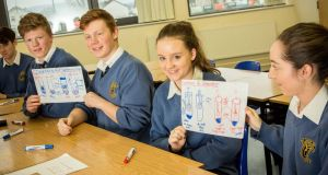 Dylan Bowe, Diarmaid Gallagher, Aoife Keegan and Orla Fallon of Magh Éne, Bundoran, Co Donegal, holding up white boards to show their knowledge of the subject. Photograph: James Connolly