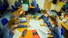 Emer McGurran, Isabelle Pawlowski, Chloe Johnston and Aoife Keegan in science class at Magh Éne school in Bundoran. Photograph: James Connolly