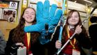 SENSOR GUIDE: Deirdre Hughes and Alaidh Fox from Coláiste Bhaile Chlair, Galway with their project entitled Sensor Guide, a sensor stick for the blind,  at the 52nd BT Young Scientist & Technology Exhibition in the RDS. Photograph: Alan Betson/The Irish Times