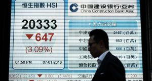 A man walks past an electronic board displaying the benchmark Hang Seng Index in Hong Kong on Thursday. With official economic growth in China still running at just below 7 per cent, the markets are slow to embrace government moves to shift the economy from an export-led one to a consumer and services-led one. Photograph: Philippe Lopez/AFP/Getty Images