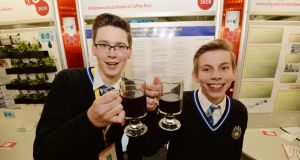 Gabriel Barat and Adrian Wolniak from Synge Street CBS with their project on A Mathematical Model of Coffee Rust Disease at the 52nd BT Young Scientist & Technology Exhibition in the RDS. Photograph: Alan Betson/The Irish Times