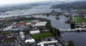 Overhead view of flooding in Athlone. Photograph: Irish Air Corps
