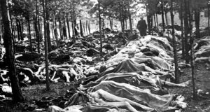 Shoah: bodies at Bergen-Belsen concentration camp after it was liberated, towards the end of the second World War, in 1945. Photograph: Keystone/Gamma-Rapho via Getty