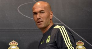 Real Madrid's new French coach Zinedine Zidane. Photograph: Gerard Julien/AFP/Getty Images