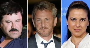 A composite image of three file photos showing (L-R) alleged Mexican drug lord Joaquin 'El Chapo' Guzman; US actor Sean Penn; and Mexican actress Kate del Castillo.  Photograph: EPA