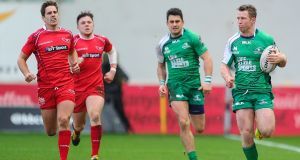 Connacht's Matt Healy runs in their first try against Scarlets in their Pro12 match at  Parc y Scarlets, Wales. Photograph: Inpho