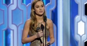 "Brie Larson accepts the award for Best Actress - Motion Picture, Drama for ""Room"" during the 73rd Annual Golden Globe Awards at The Beverly Hilton Hotel on January 10th, 2016 in Beverly Hills, California. Photograph: Paul Drinkwater/NBCUniversal via Getty Images"