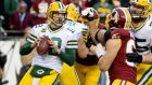 Green Bay Packers quarterback Aaron Rodgers guided his side to wildcard victory over the Washington Redskins. Photograph: Epa
