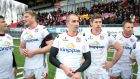 Ulster's Franco van der Merwe, Ruan Pienaar and Robbie Diack after the  victory over Oyonnax at the Stade Charles Mathon. Photograph: Darren Kidd/Presseye/Inpho