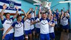 Conor McManus and the Monaghan team celebrate with the Anglo Celt cup in the dressing room after they won the championship. Photo: Cathal Noonan/Inpho