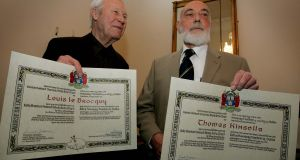 'A narrator of Dublin streets': Along with artist Louis le Brocquy, above left, with whom he collaborated on The Tain, Thomas Kinsella was conferred with honorary freedom of the city of Dublin, in 2007, in recognition of his contribution to Irish literature. Kinsella's Dublin-centred poems and sequences are often characterised by a Joycean attention to local detail. Photograph: David Sleator