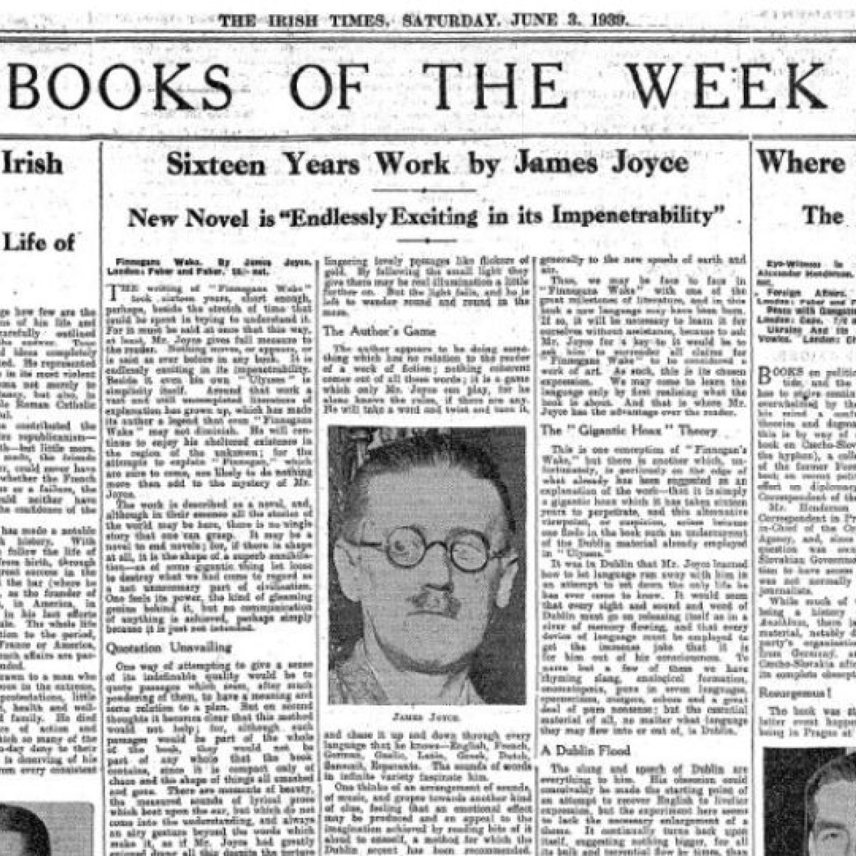 Endlessly Exciting in its Impenetrability\': 1939 James Joyce review