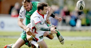 Jared Payne could return to Ulster for their Champions Cup trip to play Saracens. Photograph:   James Crombie/Inpho