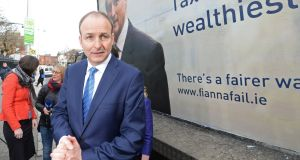 Fianna Fáil leader Micheál Martin at the launch of his party's election advertising campaign which has been described as a negative effort. Photograph: Eric Luke/The Irish Times.