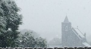 Snow falling in Manorhamilton in Co Leitrim on Thursday. Photograph: Twitter @creevylea