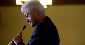 Former US president Bill Clinton campaigns for his wife, Democratic presidential hopeful Hillary Clinton, in Claremont, New Hampshire. Photograph: Jennifer Hauck/Valley News