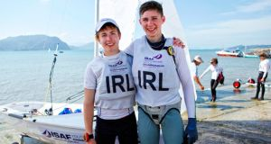 World Sailing Youth bronze medallists Douglas Elmes (left) and Colin O'Sullivan of Howth are shortlisted for Irish Youth Sailor of the Year Award. Photo: ISAF
