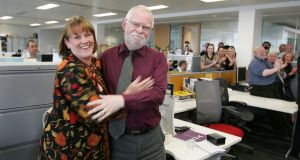 Former Irish Times Magazine editor Patsey Murphy with Gerard Smyth, poet and a former managing editor of The Irish Times