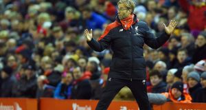 iverpool's manager Juergen Klopp reacts during the match against Arsenal. Photograph: EPA