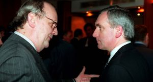 Fianna Fail   leader Bertie Ahern (right) talks to PJMara   at a party dinner at  the Burlington in 1996. Photograph: The Irish Times