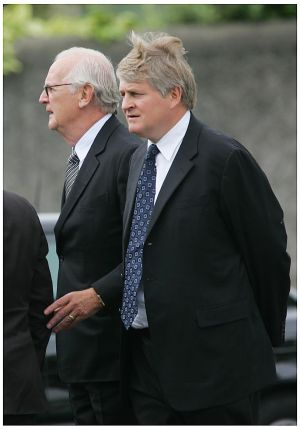 Denis O'Brien and PJ Mara at the  State funeral of Charles Haughey at Our Lady of Consolation Church, Donnycarney. Photograph: Bryan O'Brien/Irish Times Archive