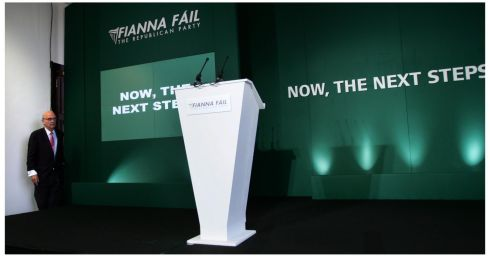 Fianna's Fail  election strategist  PJ Mara at the party's campaign launch in Dublin. Photograph: Bryan O'Brien/Irish Times Archive
