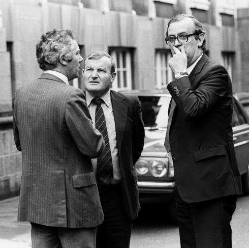 From left: FF press secretary Tony Fitzpatrick, the then taoiseach's brother Jock Haughey and then senator PJ Mara in 1982. Photograph: Jimmy McCormack/The Irish Times